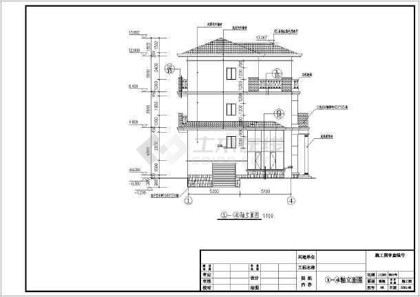 图纸 建筑图纸 别墅图纸 别墅设计图 某地区某三层楼别墅建筑设计施工