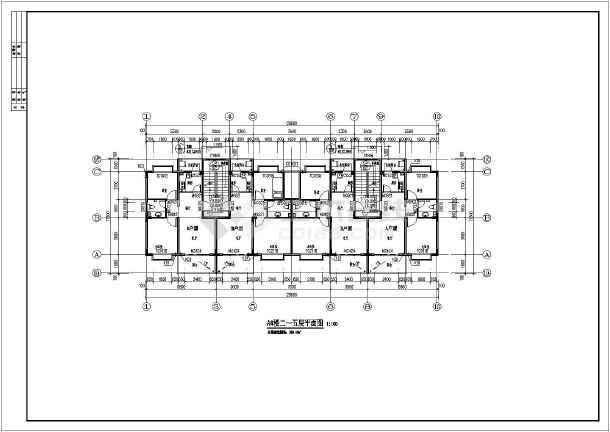 该图纸为某地区五层小户型住宅楼建筑设计施工图,一梯两户二室两厅