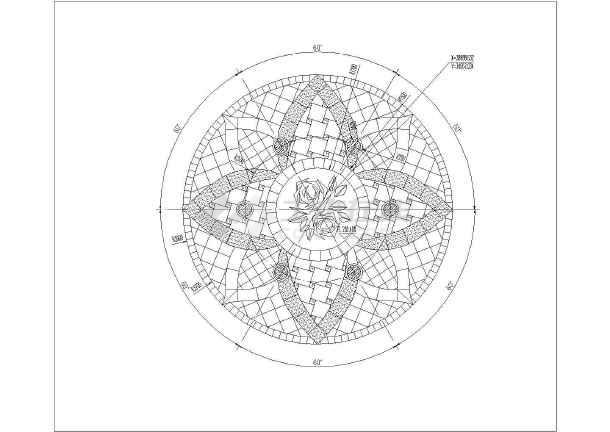 某广场欧式六柱式铁艺顶景观亭施工图