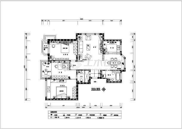 某小区三室两厅装修图_cad图纸下载-土木在线图片
