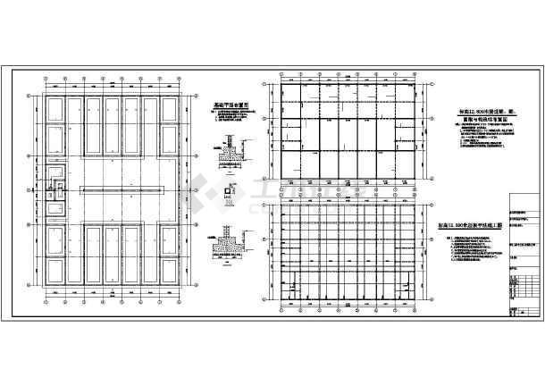 某地四层砌体结构商业综合办公楼,6度抗震,内容包括条形基础布置图