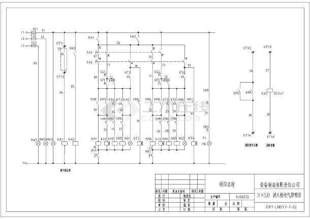 消防泵喷淋泵星三角控制箱系统原理图_cad图纸下载