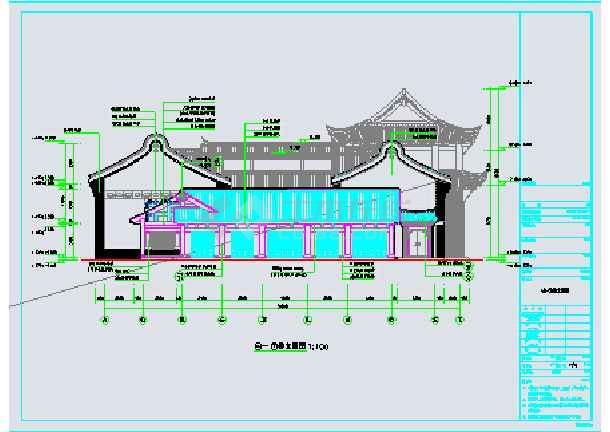 某地三层框架结构仿古建筑商住楼建筑施工图