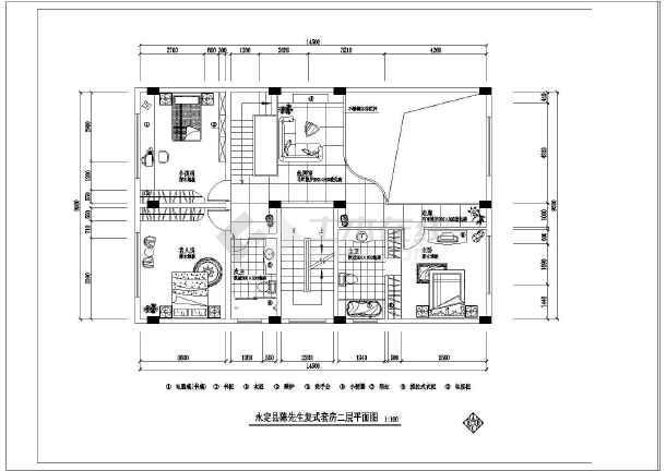 永定县陈先生复式图纸室内装修设计套房_cad2s20303-哑铃销图纸图片