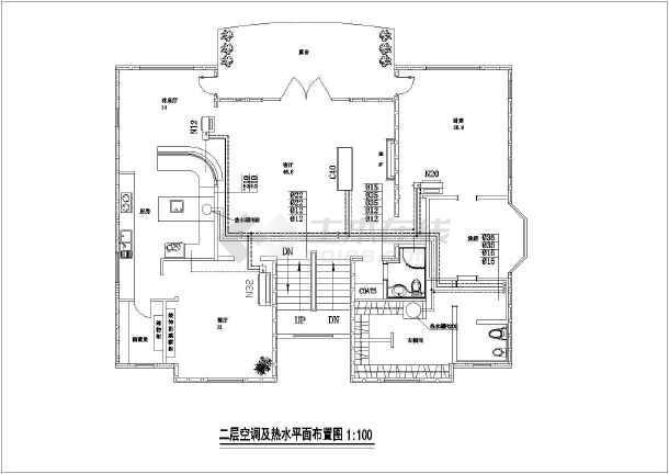 某别墅燃气空调设计及管道cad施工图