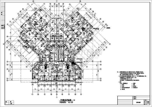江苏某地27层框架核心筒结构住宅建筑设计方案图纸