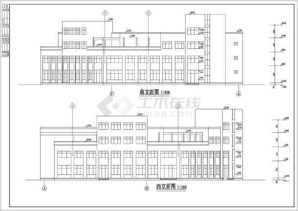 蚌埠山水华庭3层框架结构酒店建筑施工图