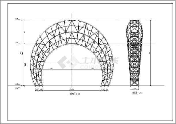 管桁架钢结构结构月亮造型小品结构施工图图片1