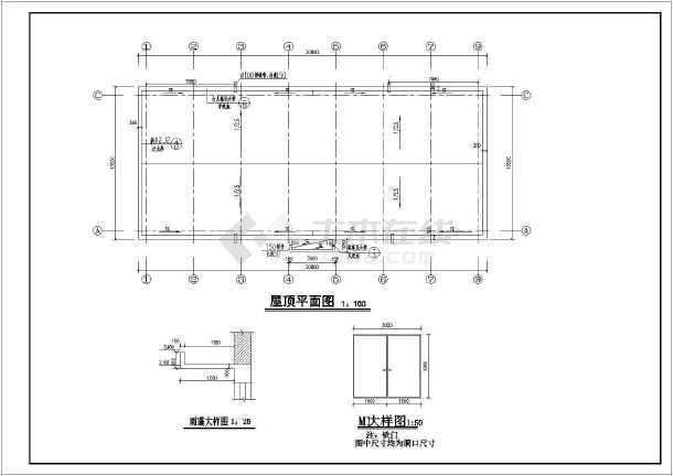 种子加工厂种子仓库建筑设计图,包含仓库平面图,屋顶平面图,1-1剖面图