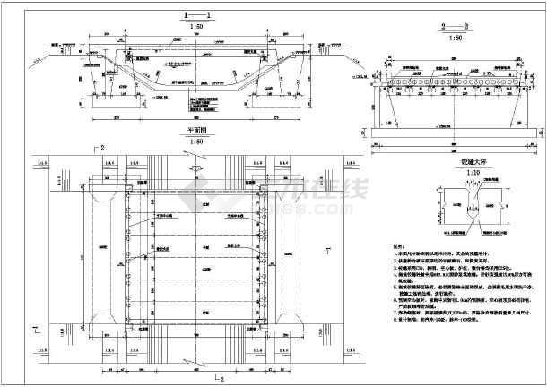 某空心板u型桥台交通桥结构钢筋图