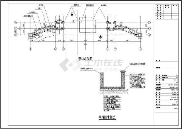 基础平面图,基础设计说明,大门结构详图1,大门结构详图2,正立面图,侧