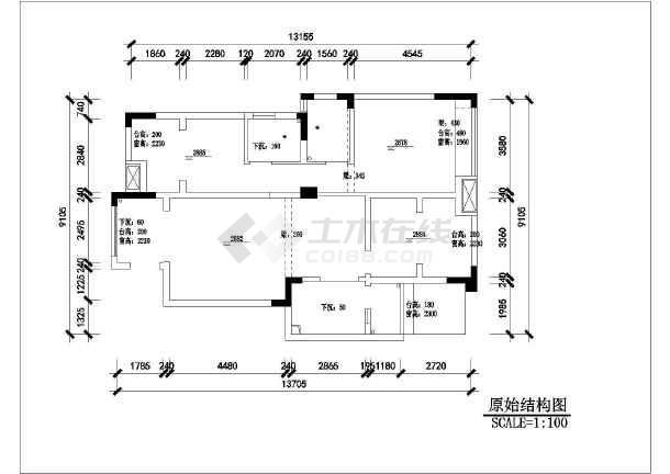 图纸为欧式三室两厅住宅室内装修设计图纸,图纸内容包括定制家具,厨房