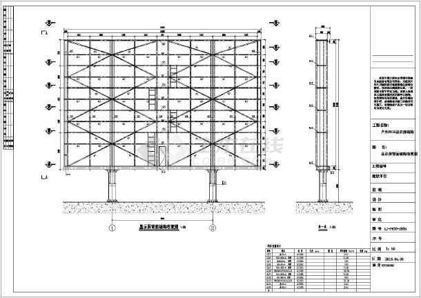 户外led显示屏双立柱钢结构参考图