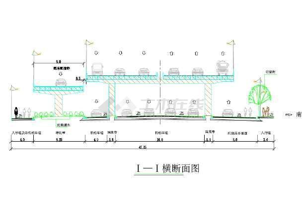 某地小型高架道路的绿化断面建筑设计图