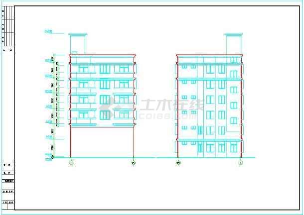 框架六层平屋顶楼房建筑设计施工图