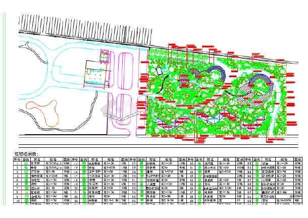 某植物园绿化平面图(植物名录表)图片1