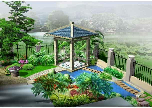 小别墅花园设计效果图_cad图纸下载-土木在线