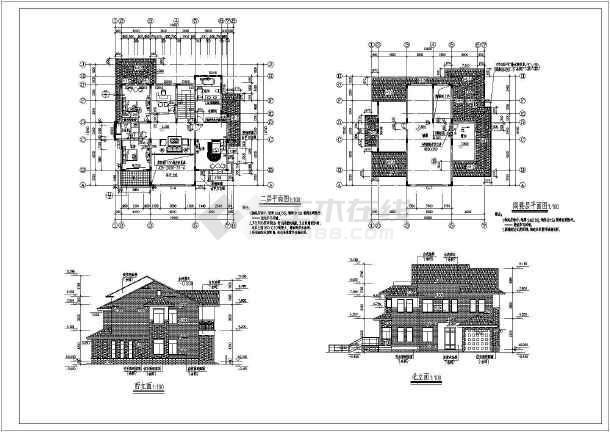 某农村两层带地下室别墅建筑设计施工图图片