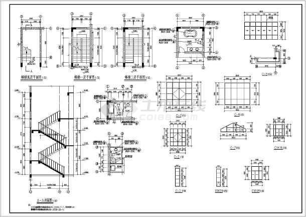 某农村两层带地下室别墅建筑设计施工图_cad格式把成怎么转换pdf图纸