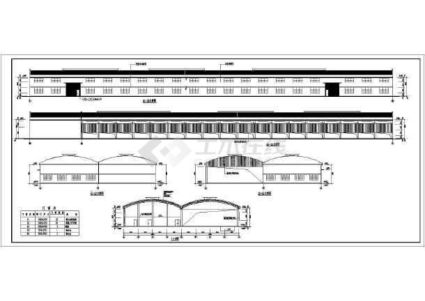 某地2连跨桁架积木屋面圆弧v桁架图纸_cad钢管核潜艇图纸图纸图片