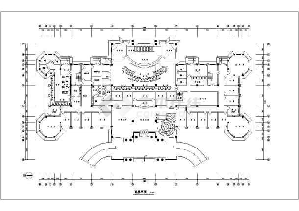 某地区三层框架结构酒店建筑设计方案图纸