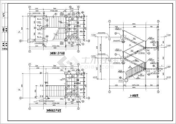 某地二层住宅钢结构楼梯结构施工图
