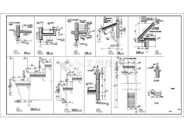 河南某四层框架结构徽派商住楼建筑设计施工图