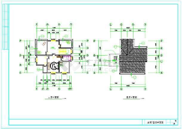 新型住宅三层图纸别墅CAD农村v住宅坐标不变图纸1000,放大倍方案图片