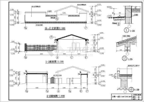 设计图分享 一层三间农村平顶设计图  农村平房设计图纸效果图