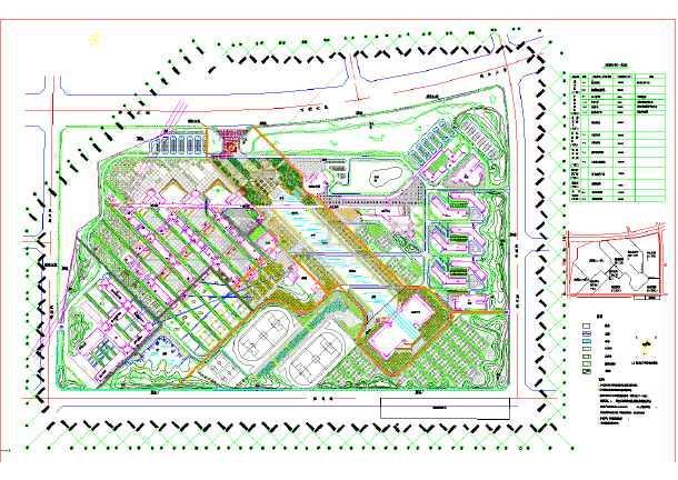 某大学校园景观设计总平面图(含说明)