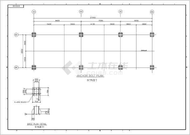 【英文图纸】韩国现代锅炉支架钢结构施工图