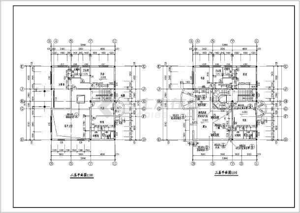 某地三层砖混结构欧式别墅建筑设计方案图
