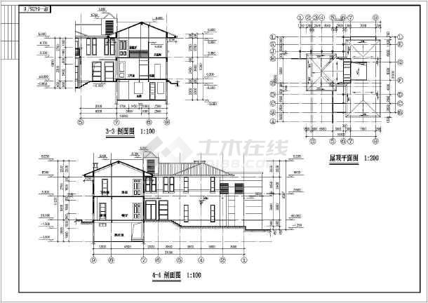 某地两层框架结构别墅建筑设计施工图纸