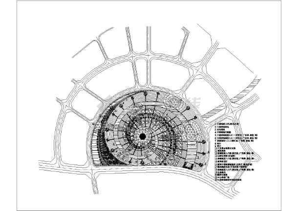 某半圆形广场景观规划设计总平面图纸