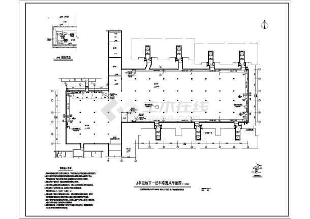 图纸 暖通设计图 通风除尘 地下室通风设计施工图 某小区地下车库通风