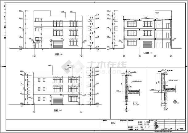 某地扩建3层新建厂房混凝土框架设计图