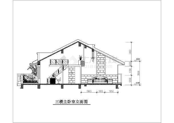 图纸内容包括各层平面布置图,主卧室立面图,楼梯立面图,卫生间立面图