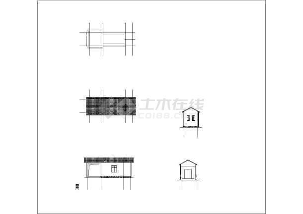 古建筑设计 廊,亭,榭建筑施工图 【浙江】某地码头单层简易三个亭子
