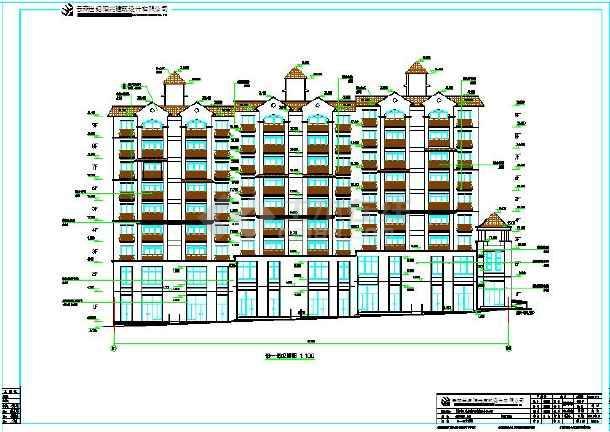 错层坡地型城堡县城小区公寓楼建筑施工设计图图片1
