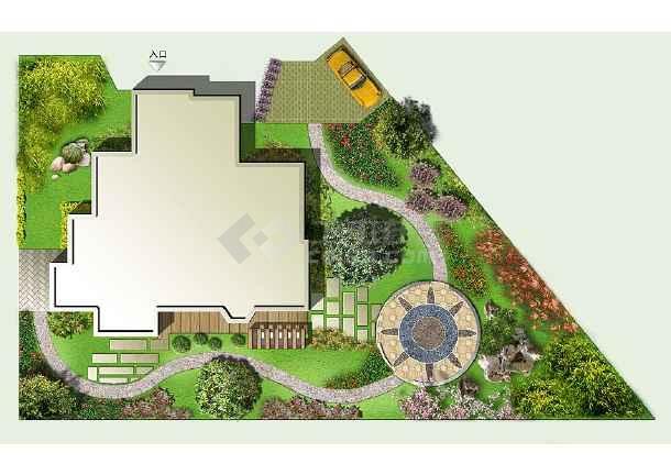 别墅庭院绿化彩平图
