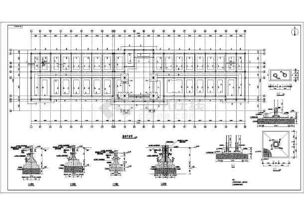 五层砌体办公楼结构设计施工图纸,包括结构说明,基础平面图,基础详图