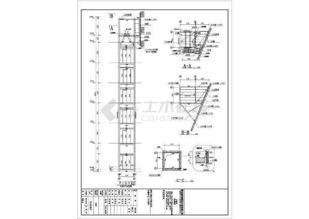 青岛某残联电梯井座钢结构建筑设计施工图
