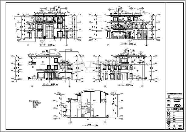 江苏省3层剪力墙结构欧式别墅建筑设计施工图
