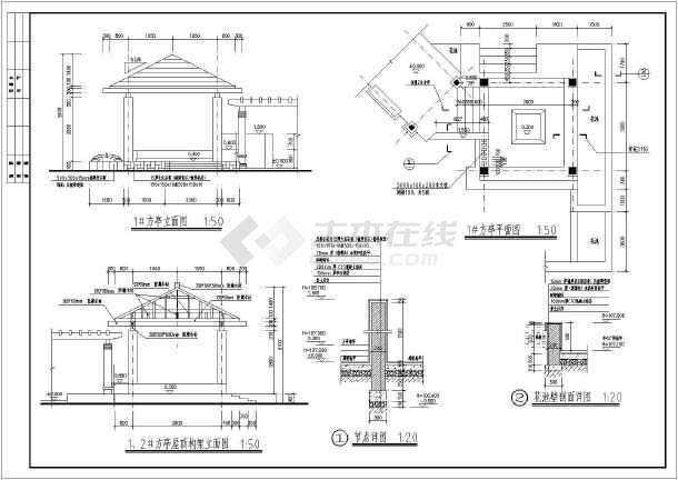 某地方亭和转角亭(防腐木)施工图画法详图