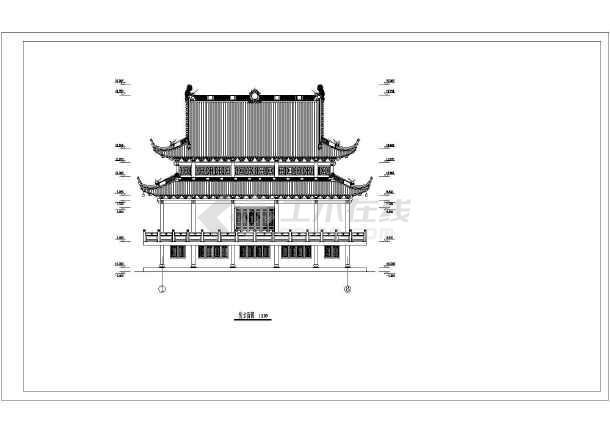 仿古型二层重檐歇山顶庙宇建筑设计方案图片2