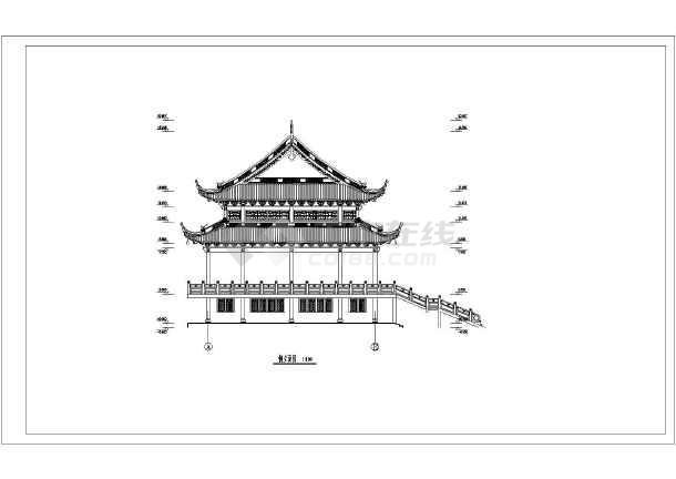 仿古型二层重檐歇山顶庙宇建筑设计方案