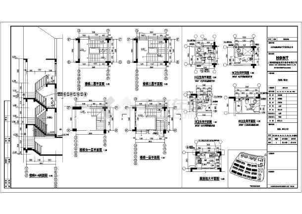 长沙市某三层连体别墅建筑设计施工图(cad图纸下载)