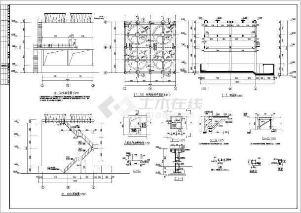某地框架结构循环水冷却塔建筑结构施工图