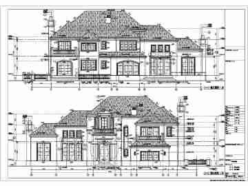 上海某地两层框架结构别墅建筑设计施工图纸