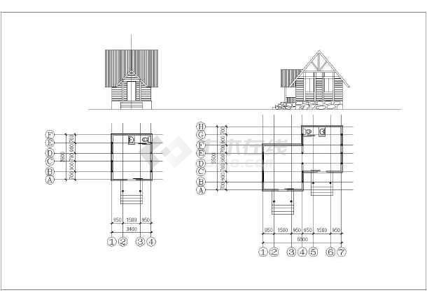 非常温馨新颖的小木屋设计全套cad图图片1